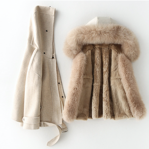 Cashmere Blend Coat with Rabbit Fur Inner & Fox Fur Collar, Real Wool Jacket, Winter Jacket, Warm Coat.