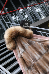 Ladies Winter Coat with Rabbit Fur Liner & Fox Fur Hood, Real Fur Jacket, Winter Jacket, Warm Coat.