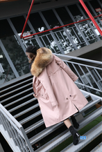Load image into Gallery viewer, Ladies Winter Coat with Rabbit Fur Liner & Fox Fur Hood, Real Fur Jacket, Winter Jacket, Warm Coat.