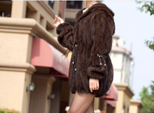 Load image into Gallery viewer, Knitted Mink Fur Coat with Hood, Real Mink Fur Jacket, Mink Fur Cape