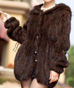 Knitted Mink Fur Coat with Hood, Real Mink Fur Jacket, Mink Fur Cape