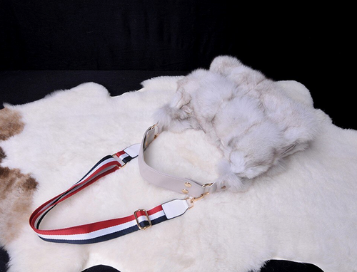 Real Fox Fur  Bag, Genuine Leather Bag.