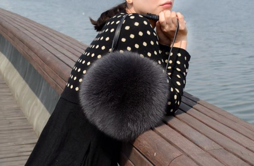 Small Real Fox Fur  Bag, Genuine Leather Bag.