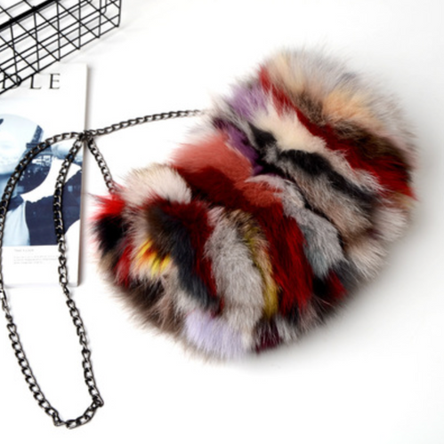 Affordable & Super Cute, Small Real Fox Fur  Bag, Genuine Leather Bag.