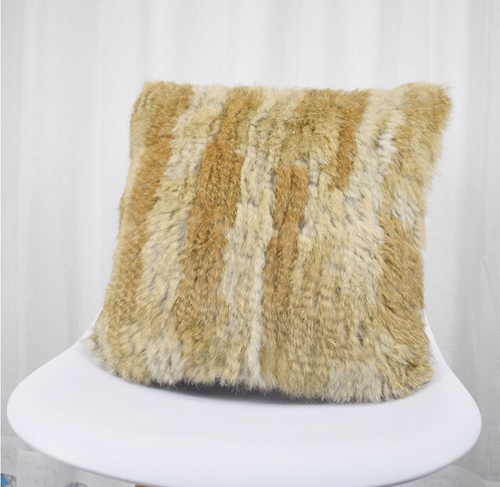 Knitted Rabbit Fur Cushion Covers, Natural Rabbit Fur, Genuine Fur.