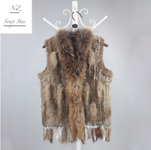 Load image into Gallery viewer, Rabbit Fur Vest with Raccoon Fur Collar, 51cm length, Rabbit Fur Gilet, Fur Jacket, Real Fur Coat, Real Fur.