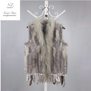 Rabbit Fur Vest with Raccoon Fur Collar, 51cm length, Rabbit Fur Gilet, Fur Jacket, Real Fur Coat, Real Fur.