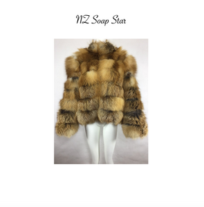 Red Fox Fur Coat, Real Fur Coat with Mandarin Collar, Fox Fur Jacket, Fur Coat.