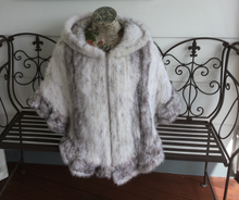 Load image into Gallery viewer, Knitted Mink Fur Poncho with Hood, Real Mink Fur Shawl, Mink Fur Cape.
