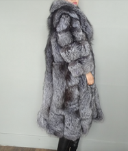 Load image into Gallery viewer, Luxurious Silver Fox Fur Coat, Real Fur Coat with Hood, Fox Fur Jacket, Fur Coat.