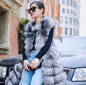 Long Fox Fur Vest, Fox Fur Coat, Real Fur Jacket.
