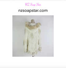Load image into Gallery viewer, Rabbit Fur Poncho with Hood and Raccoon Fur Trim, Rabbit Fur Cape, Real Fur.