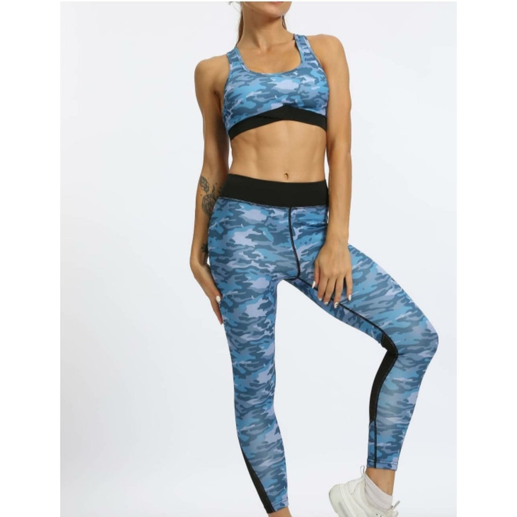 Blue Camouflage Womens leggings and top set, Gym wear (Lily)