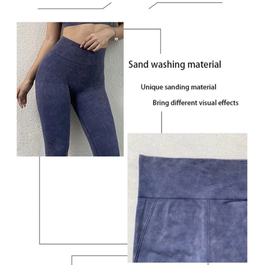 Washed Denim look Yoga and Gym Wear matching Set (Ink)