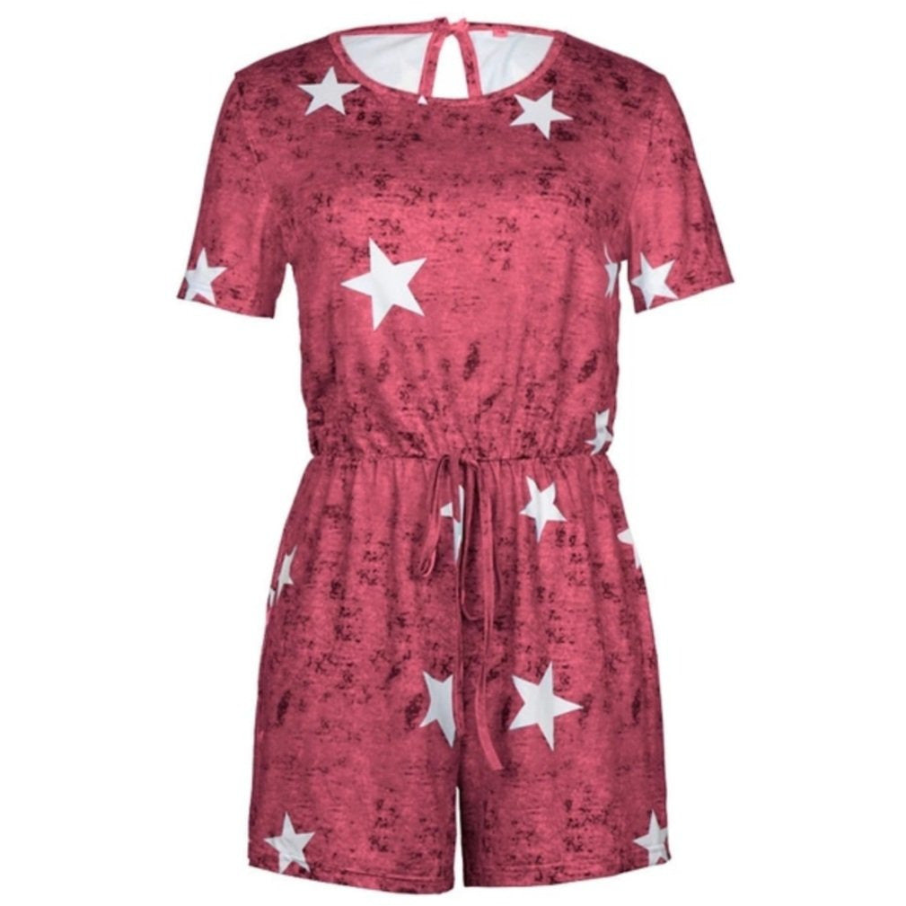 Ladies Deep Red Star Shorts Playsuit