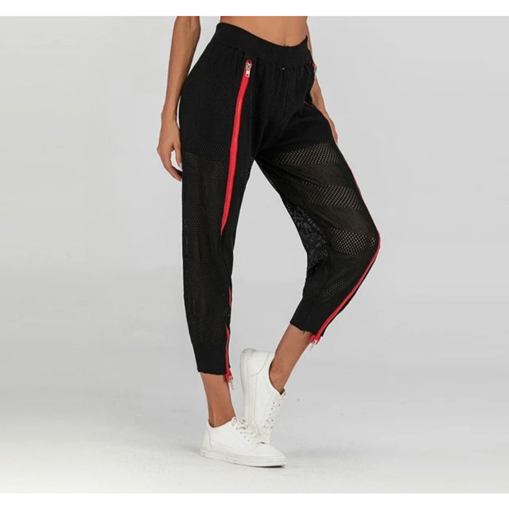 Ladies Black and Mesh Joggers