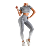 Womens Short sleeve ombre Seamless leggings and top set, Gym wear (Polly)