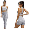 Camouflage grey ladies gym wear set, leggings, shorts and top three piece set,