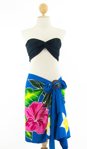 Short Hand-Painted Sarong with Fringe