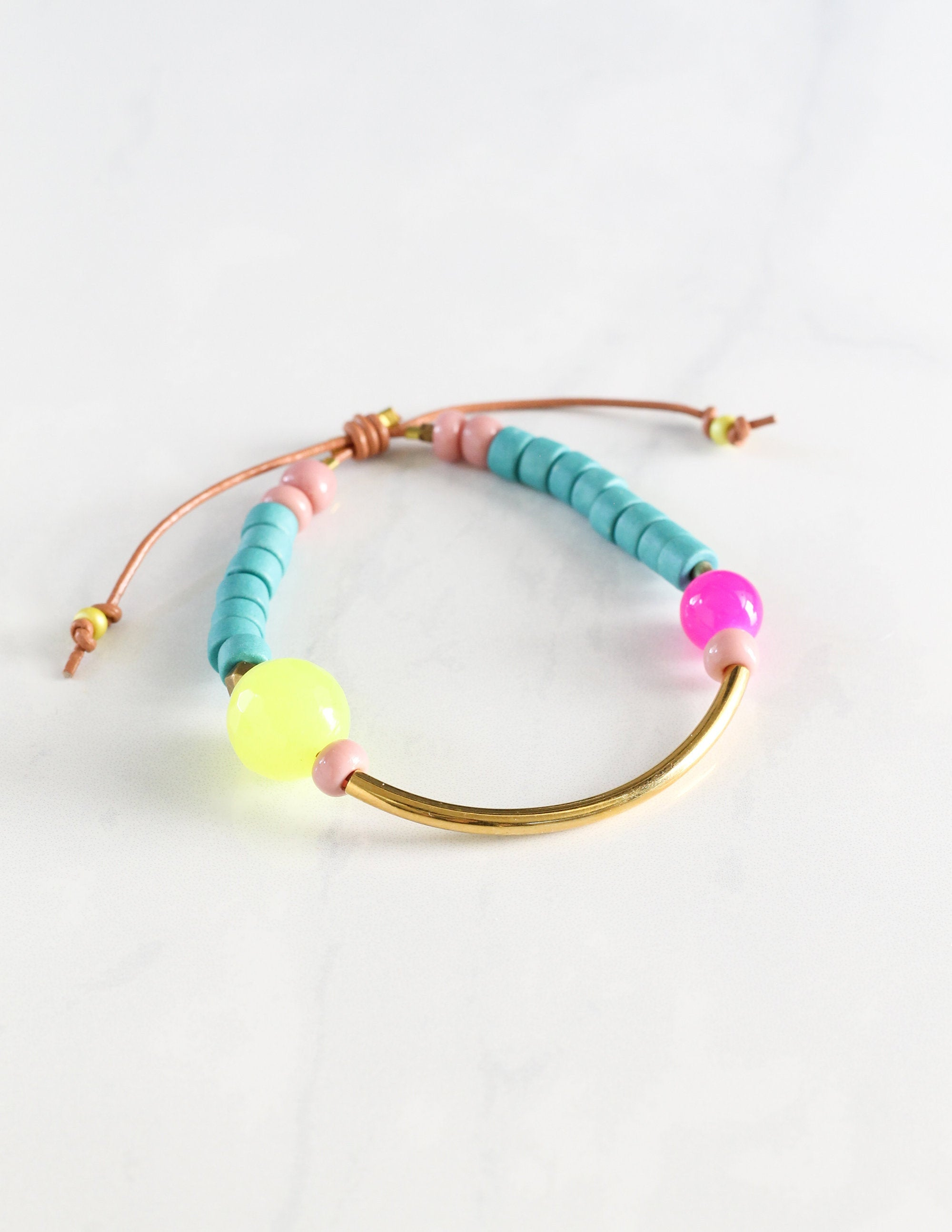 Turquoise and Yellow Smiling Sun Bracelet