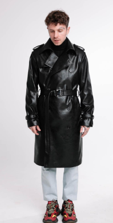 Double Breasted Faux Leather Trench Coat