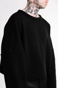 Oversized Cut and Sew Knitwear Sweater