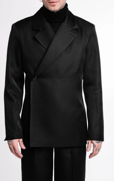 Overlap One-button Single Breasted Jacket with Peak Lapels