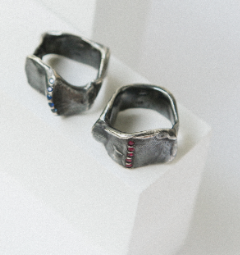 Eklem ring - Oxidised silver