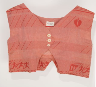 Agape Cropped Top-Gillet in Red Aurora Ancient Greek Motivs