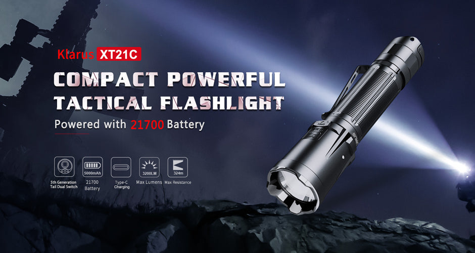 Klarus XT21X High Power Tactical LED Flashlight with 4000 Lumens