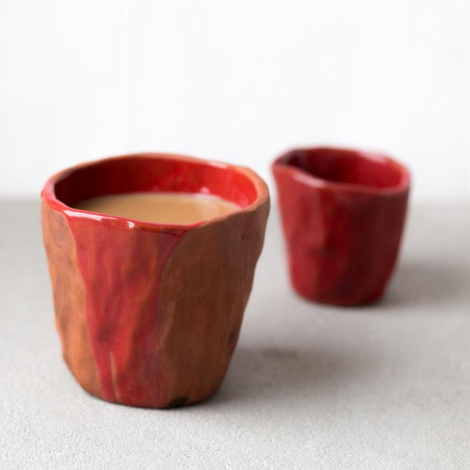 clay cup and creamer set