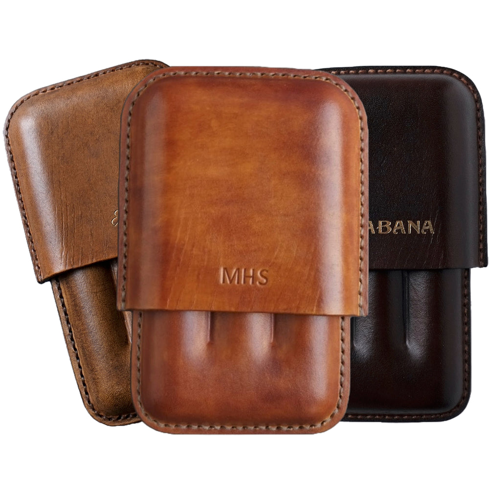 personalized leather cigar holder