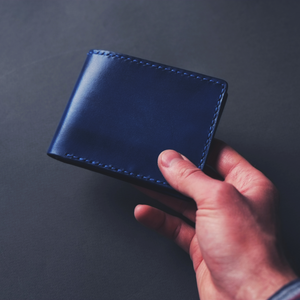 leather blue wallet