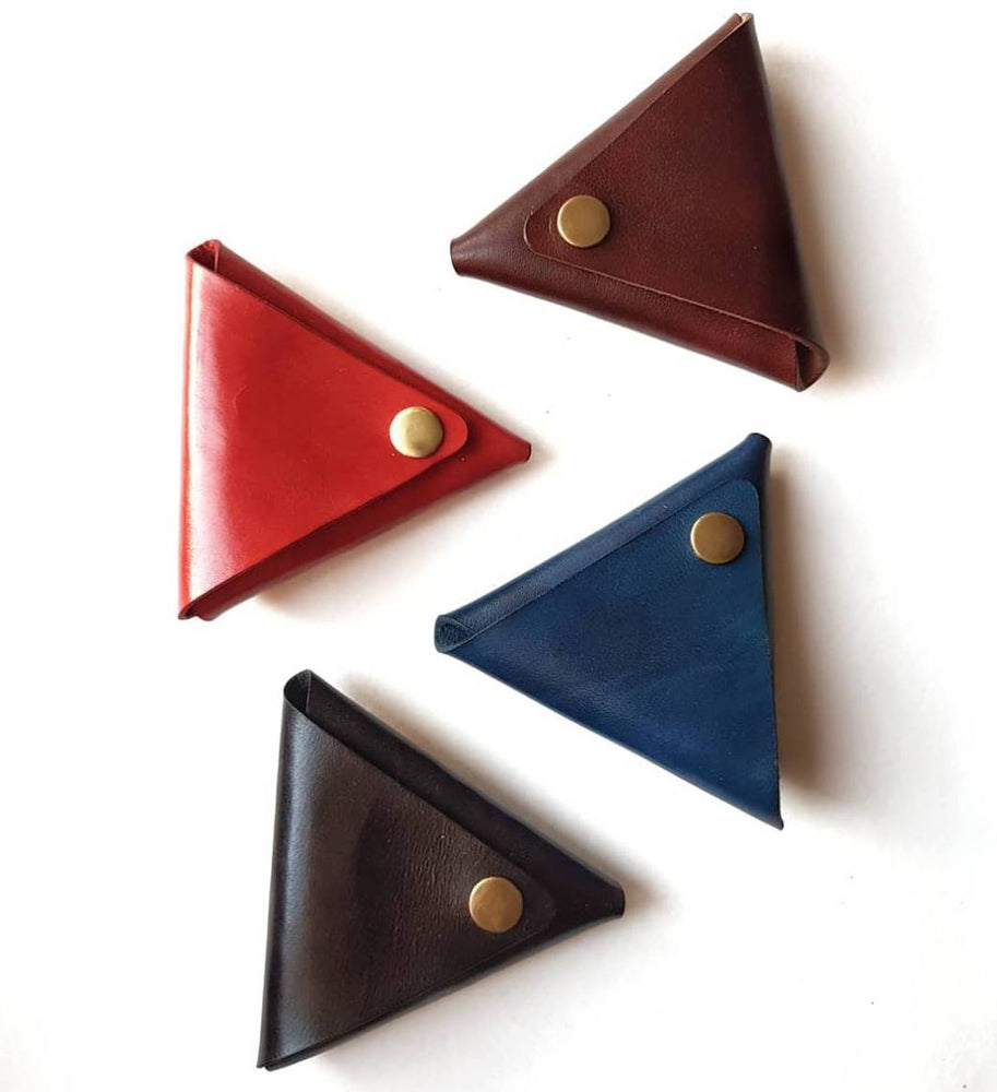 leather handmade coin pouch