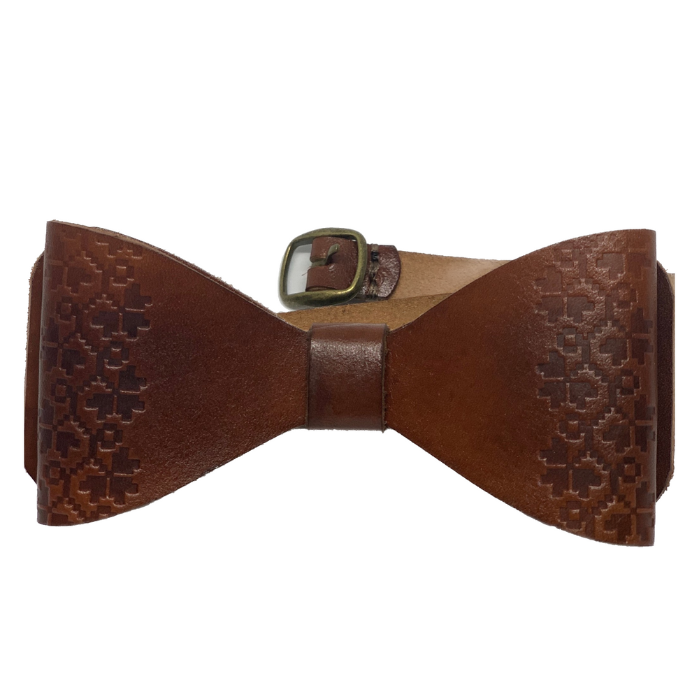brown leather handmade bow tie