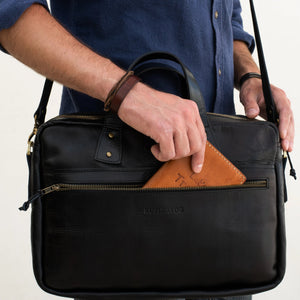 Load image into Gallery viewer, PERSONALIZED SLIM LEATHER BRIEFCASE