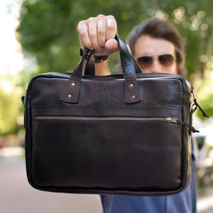 PERSONALIZED SLIM LEATHER BRIEFCASE