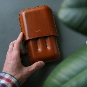 Molded Leather Cigar Case Father's Gift