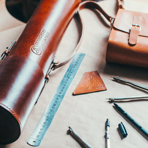 monogrammed leather tube