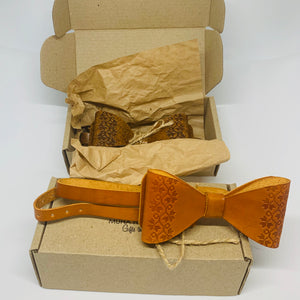 leather handmade bow tie for men