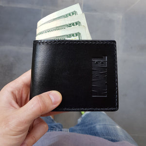 Load image into Gallery viewer, black leather wallet monogrammed