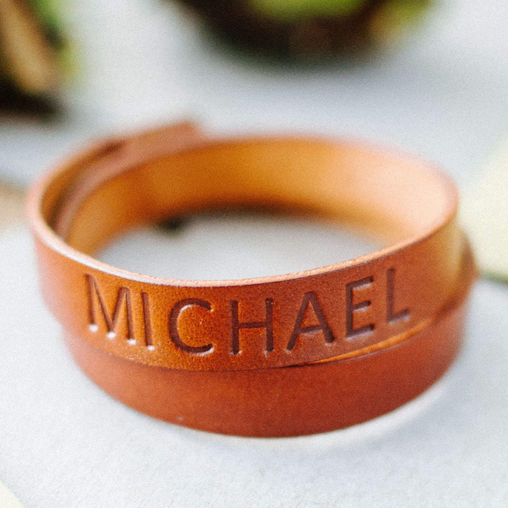custom name double wrap leather wristband