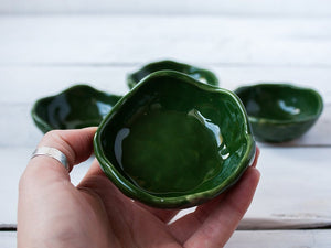 glazed pottery handmade ring dish