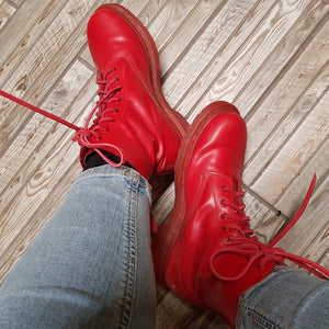 red leather shoe laces for boots