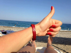 red leather wristband gift for her