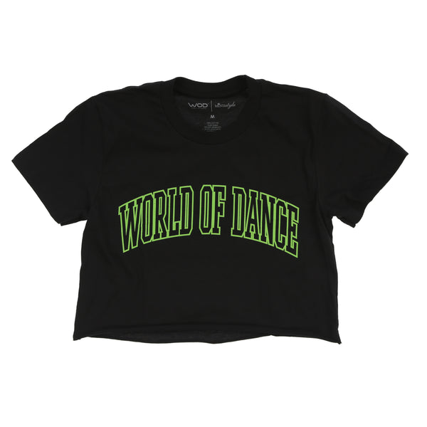 World of Dance Colligate Crop Top (Black/Green)