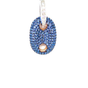Night Blue Gemstone Button Maxi Earring