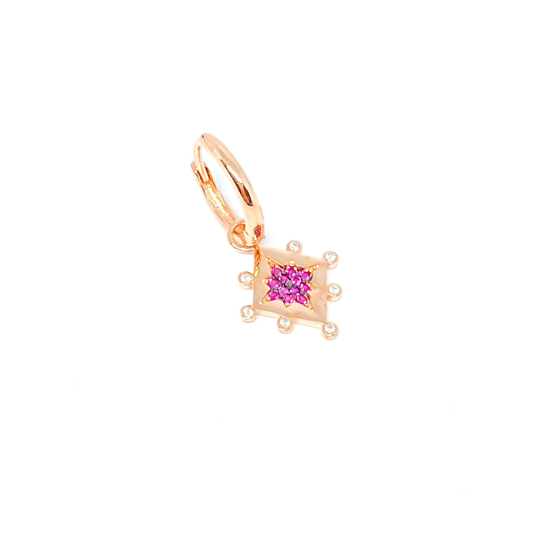 Pink Stone Pole Star Tile Earring