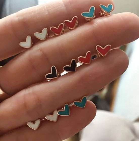 Blue Enamel Heart Stud Earring