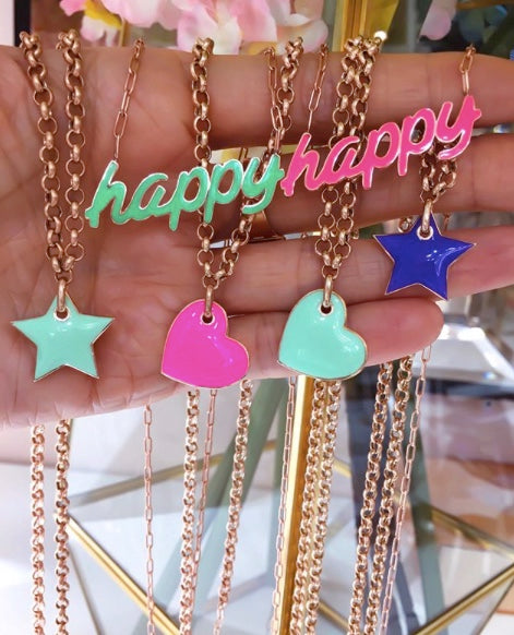 Neon Green Happy Necklace
